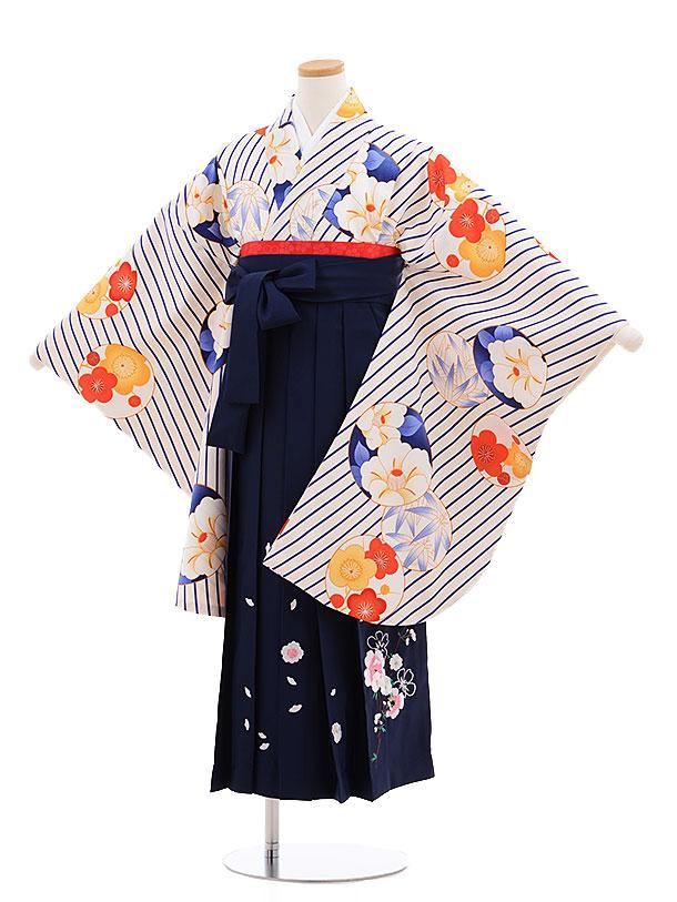 小学生卒業式袴レンタル(女の子)9604白斜めストライプ花×紺袴