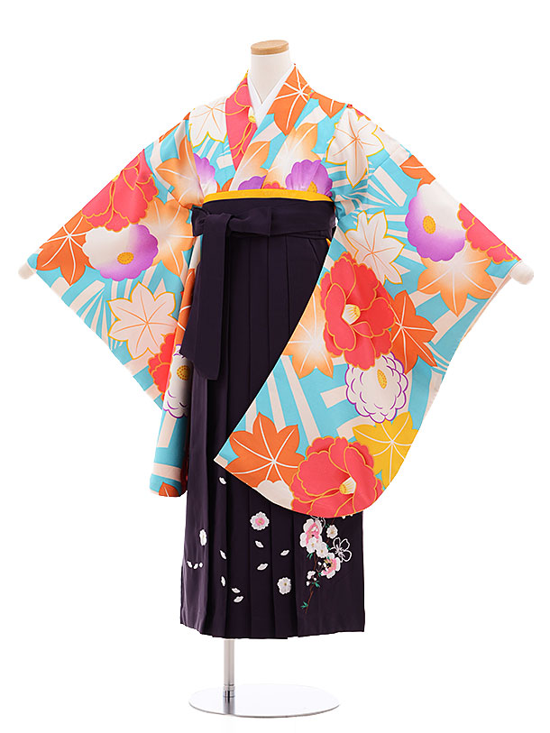 小学生卒業式袴レンタル(女の子)9606ターコイズ白椿×パープル袴