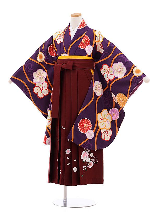 小学生卒業式袴レンタル(女の子)9608パープル地ねじり梅×エンジ袴