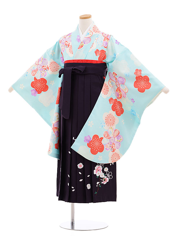 小学生卒業式袴レンタル(女の子)9610水色梅×パープル袴