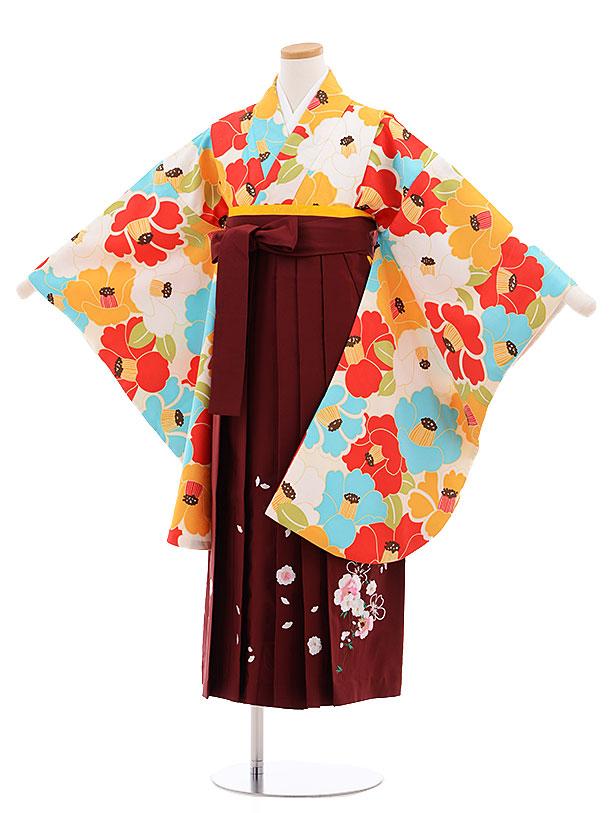 小学生卒業式袴レンタル(女の子)9614クリーム地水色椿×エンジ袴
