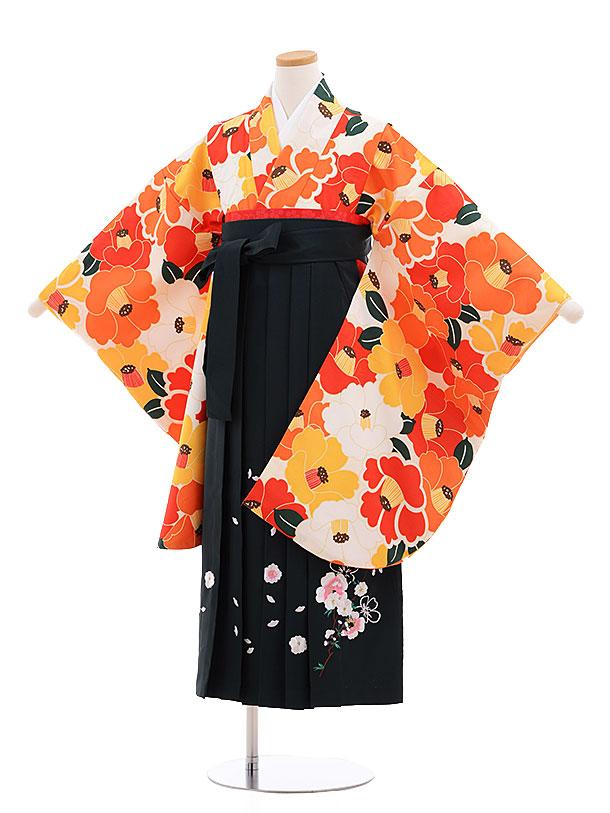 小学生卒業式袴レンタル(女の子)9616クリーム地赤椿×深緑袴
