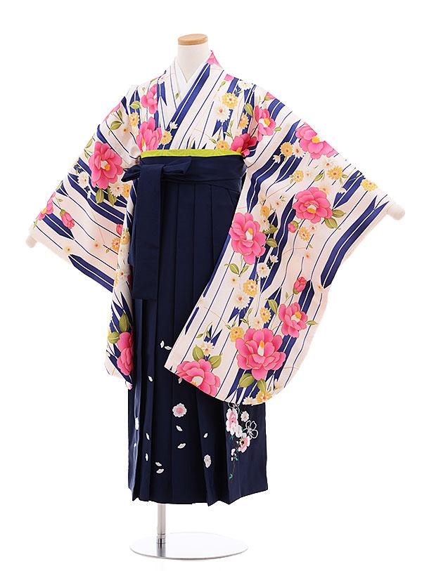 小学生卒業式袴レンタル(女の子)9617クリーム地矢柄椿×紺袴