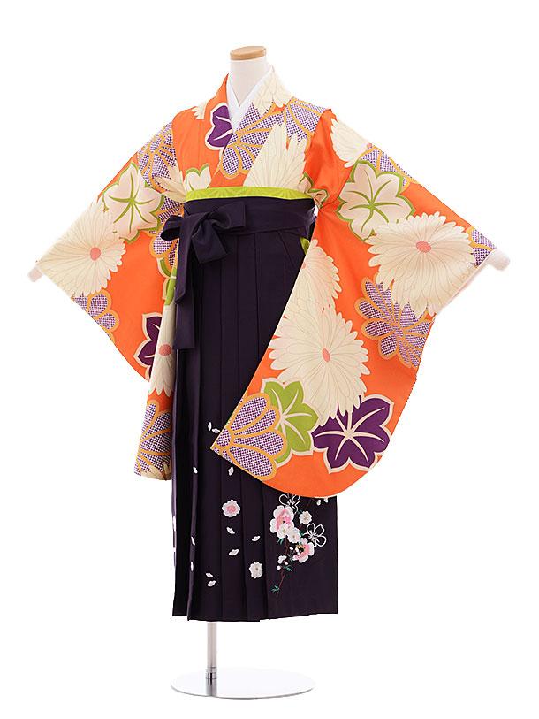 小学生卒業式袴レンタル(女の子)9619オレンジ菊×パープル袴