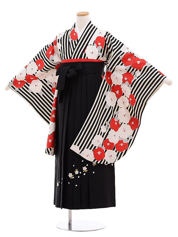 小学生卒業式袴レンタル(女の子)9620黒ストライプ椿×黒袴