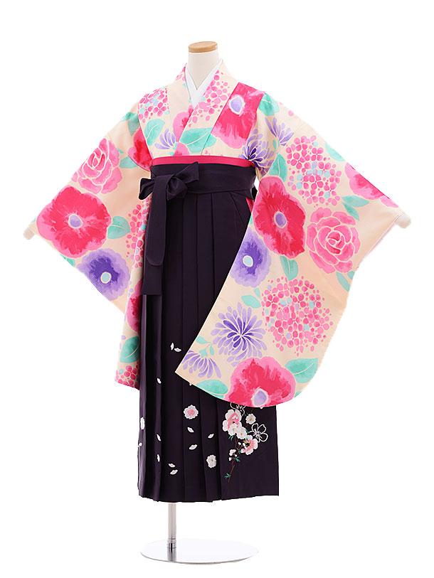 小学生卒業式袴レンタル(女の子)9623淡ピンク花×パープル袴