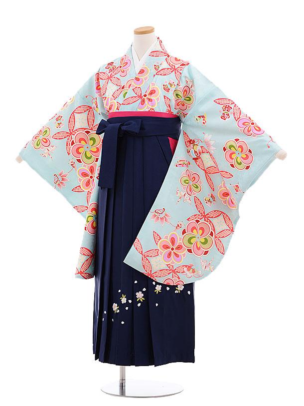 小学生卒業式袴レンタル(女の子)9625水色ねじり梅×紺袴
