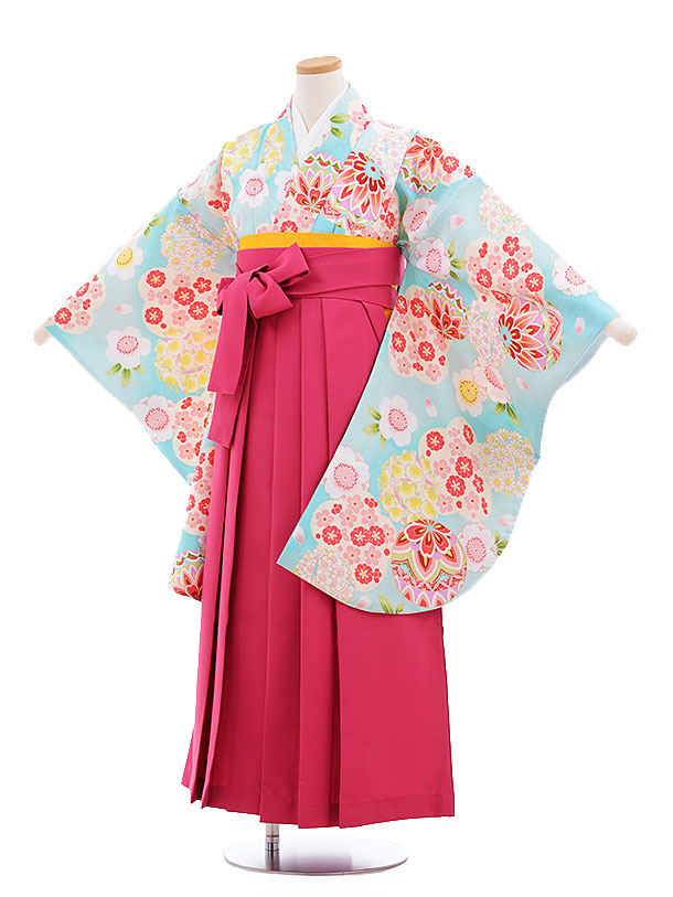 小学生卒業式袴レンタル(女の子)9626水色桜まり×ピンク袴