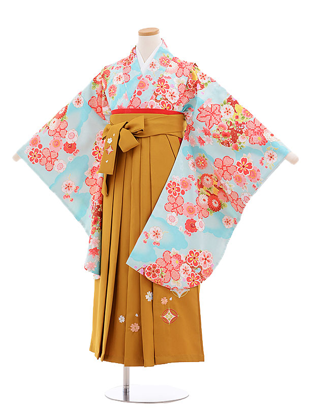 小学生卒業式袴レンタル(女の子)9571ひさかたろまん黒まり花×抹茶袴
