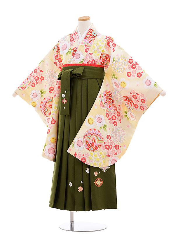 小学生卒業式袴レンタル(女の子)9629クリーム色桜まり×抹茶袴