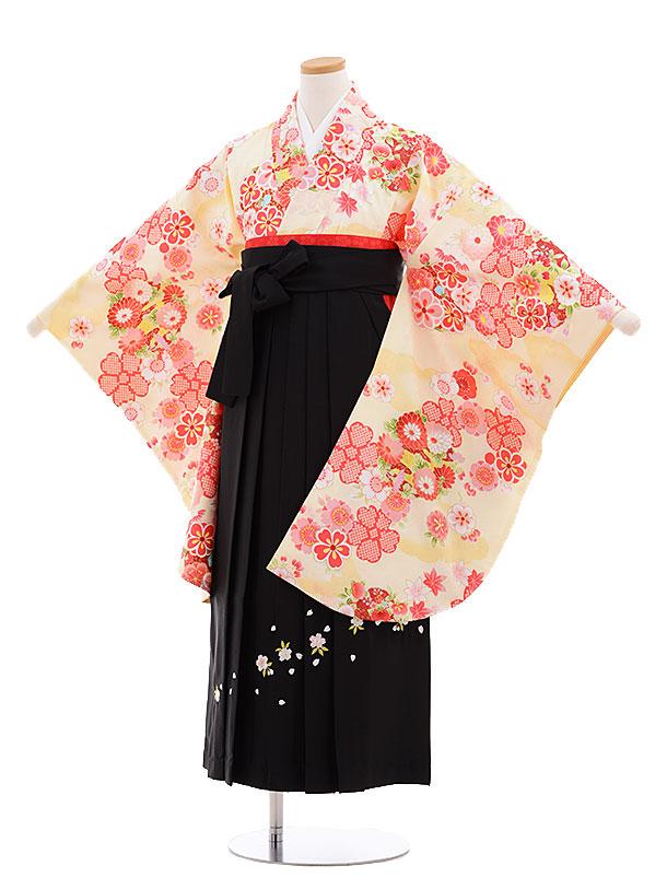 小学生卒業式袴レンタル(女の子)9630クリーム色雲取り花×黒袴