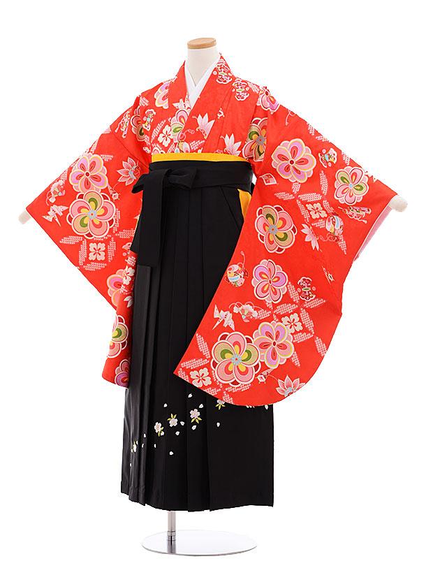 小学生卒業式袴レンタル(女の子)9632赤地ねじり梅×黒袴
