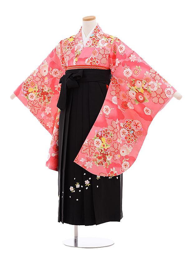 小学生卒業式袴レンタル(女の子)9634ピンク地雲取り花×黒袴