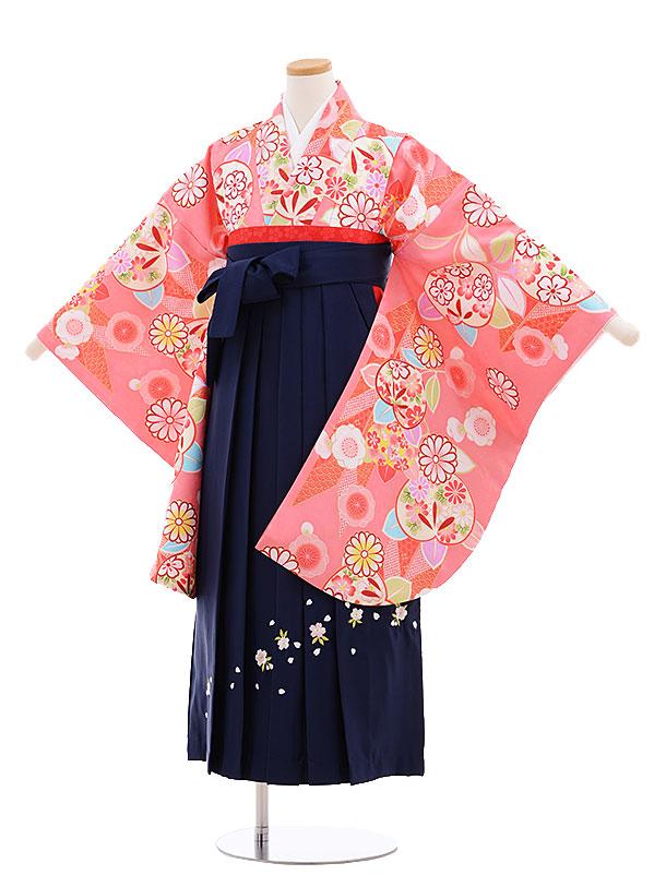 小学生卒業式袴レンタル(女の子)9637ピンク地矢柄橘×紺袴