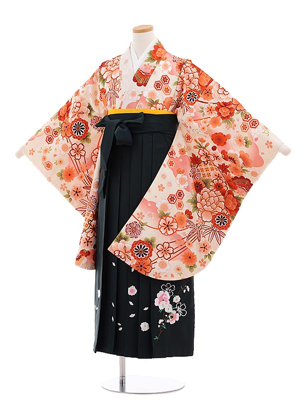 小学生卒業式袴レンタル(女の子)9640クリーム色松竹梅ぼたん×深緑袴