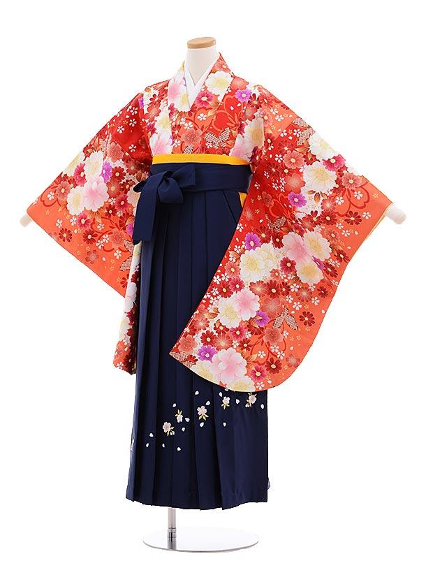 小学生卒業式袴レンタル(女の子)9642オレンジ花づくし×紺袴