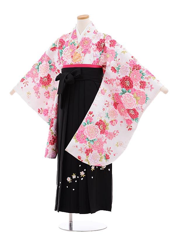 小学生卒業式袴レンタル(女の子)9644白地ピンクバラ×黒袴
