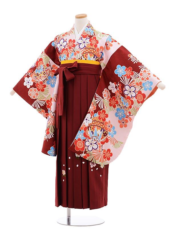 小学生卒業式袴レンタル(女の子)9645エンジピンク梅×エンジ桜袴