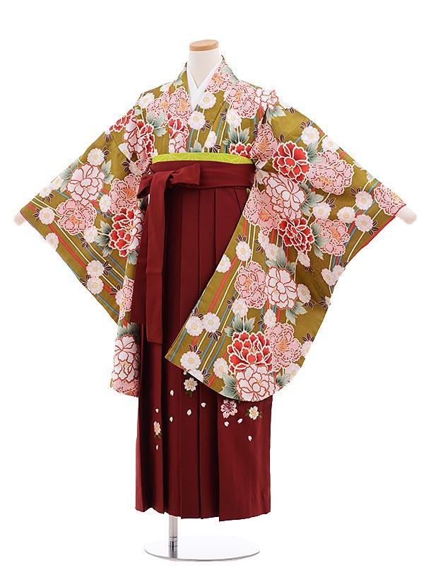 小学生卒業式袴レンタル(女の子)9646抹茶グリーンぼたん×エンジ桜袴