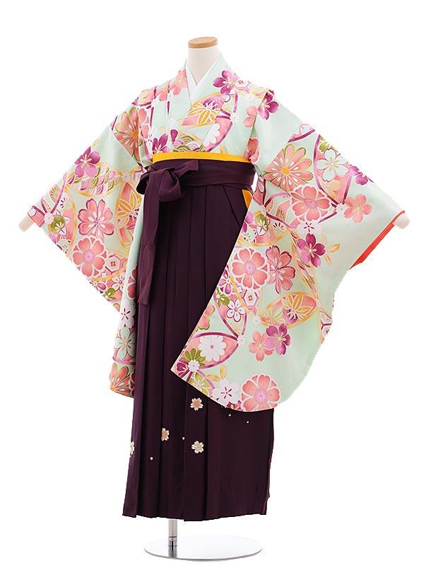 小学生卒業式袴レンタル(女の子)9650グリーン花×パープル丸桜袴