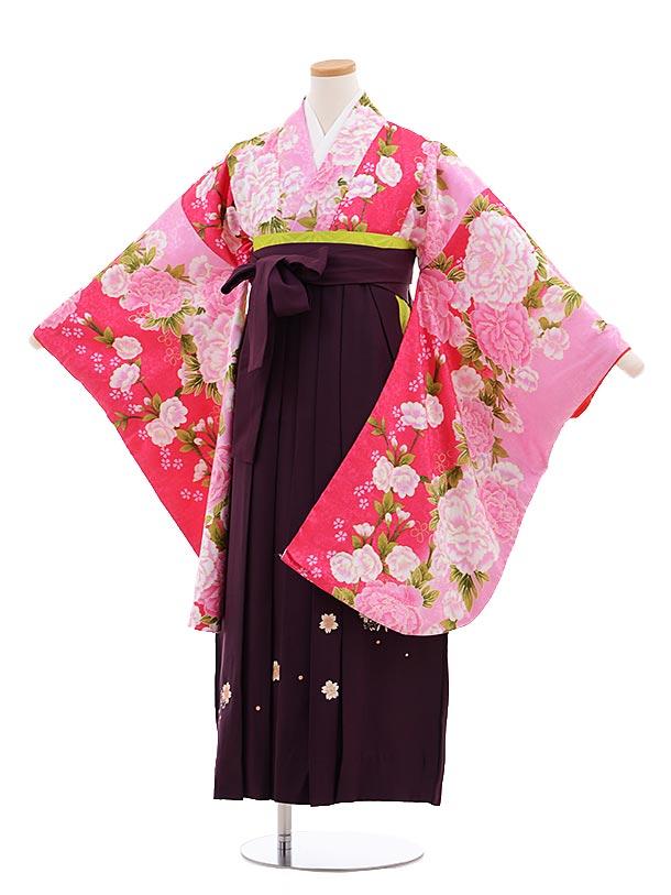 小学生卒業式袴レンタル(女の子)9652ピンクぼたん×パープル丸桜袴