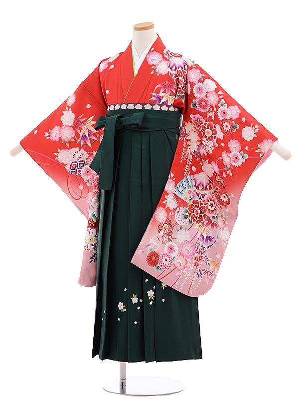 小学生卒業式袴レンタル(女の子)9654赤地裾ピンク花×グリーン桜袴