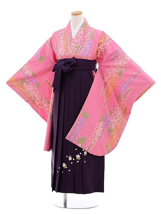 小学生卒業式袴レンタル(女の子)9655ピンク地藤×パープル桜袴