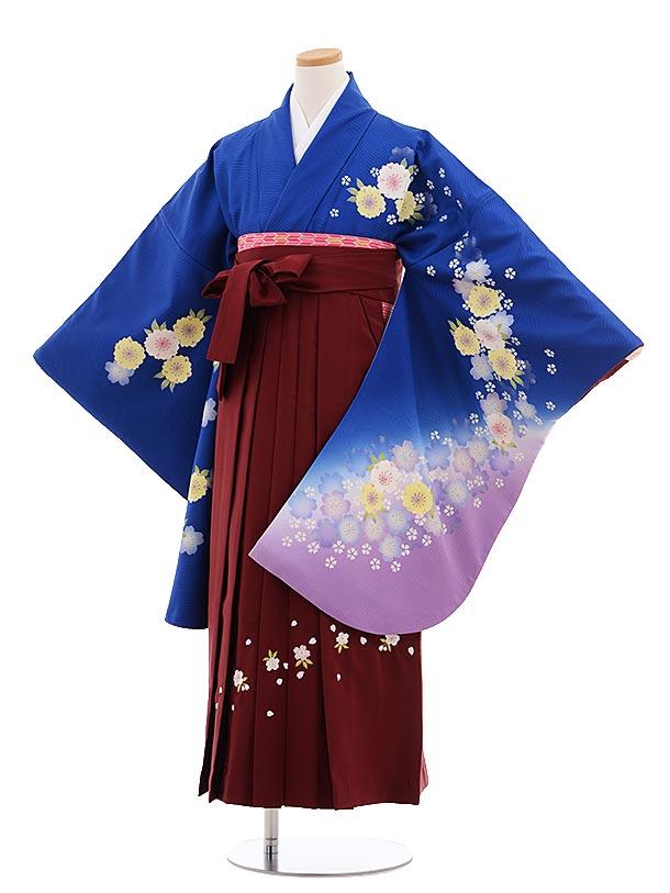 小学生卒業式袴レンタル(女の子)9656ブルー地裾紫桜×エンジ桜袴
