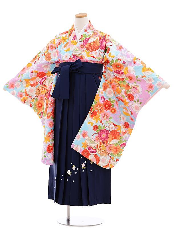 小学生卒業式袴レンタル(女の子)9657水色地雲取花×紺桜袴