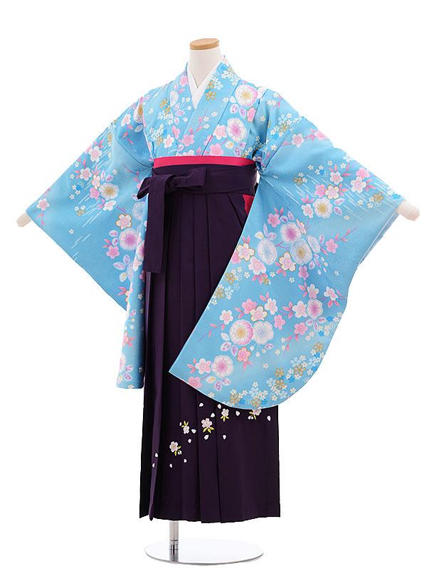 小学生卒業式袴レンタル(女の子)9659水色桜×パープル袴