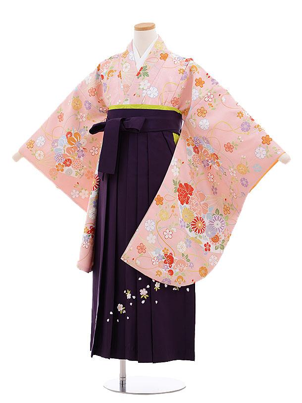 小学生卒業式袴レンタル(女の子)9661ピンク扇に花×パープル袴