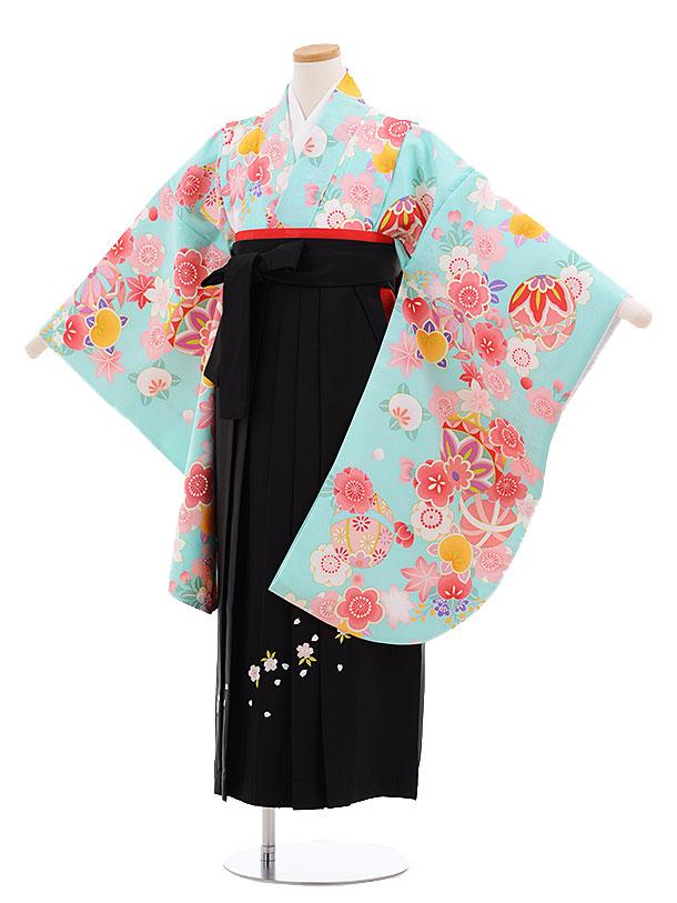 小学生卒業式袴レンタル(女の子)9663ターコイズまり花×黒袴