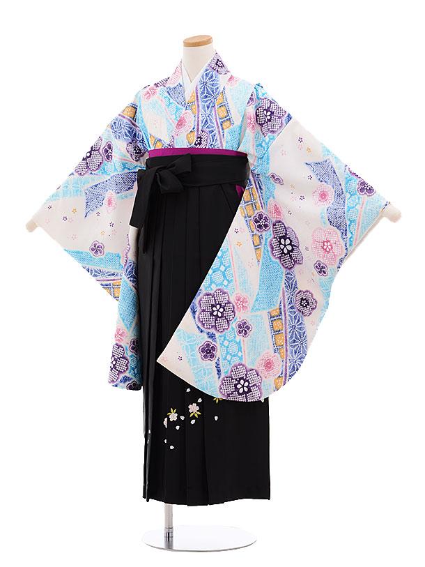 小学生卒業式袴レンタル(女の子)9664白地のしめ鹿の子×黒袴