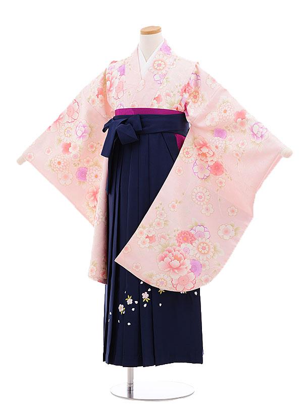小学生卒業式袴レンタル(女の子)9669ピンク花づくし×紺袴