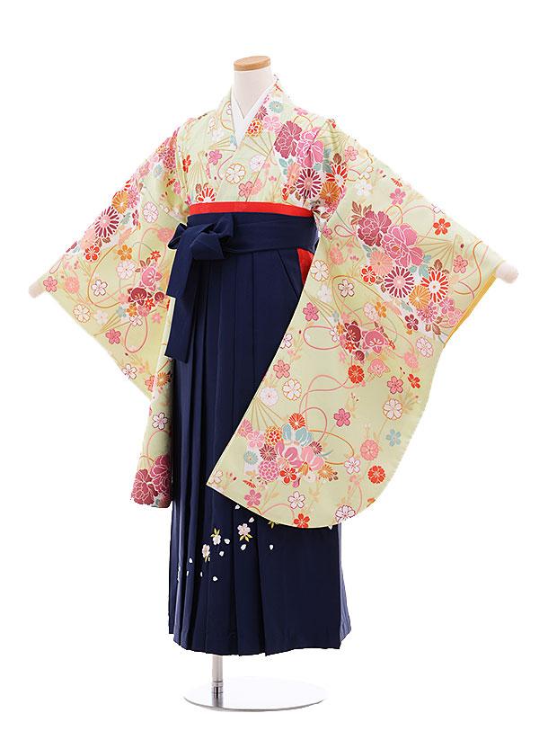 小学生卒業式袴レンタル(女の子)9670ライトグリーン扇に花×紺袴