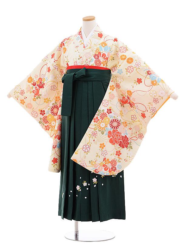 小学生卒業式袴レンタル(女の子)9672クリーム地扇に花×グリーン袴