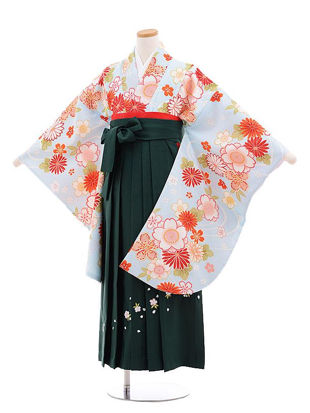 小学生卒業式袴レンタル(女の子)9673水色桜菊×グリーン袴