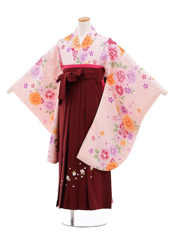 小学生卒業式袴レンタル(女の子)9676ピンク花×エンジ袴