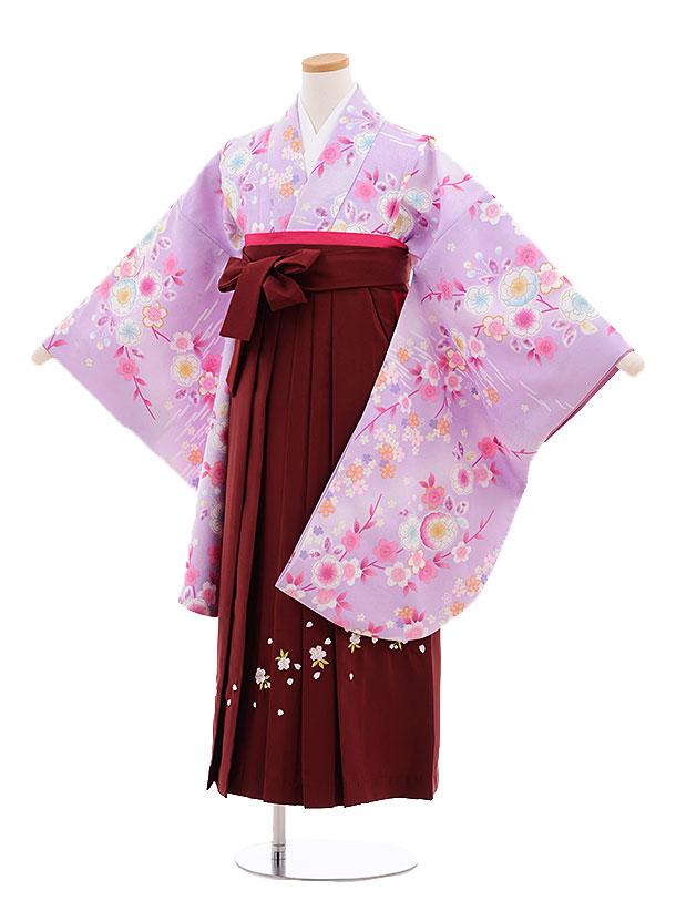 小学生卒業式袴レンタル(女の子)9677パープル桜×エンジ袴
