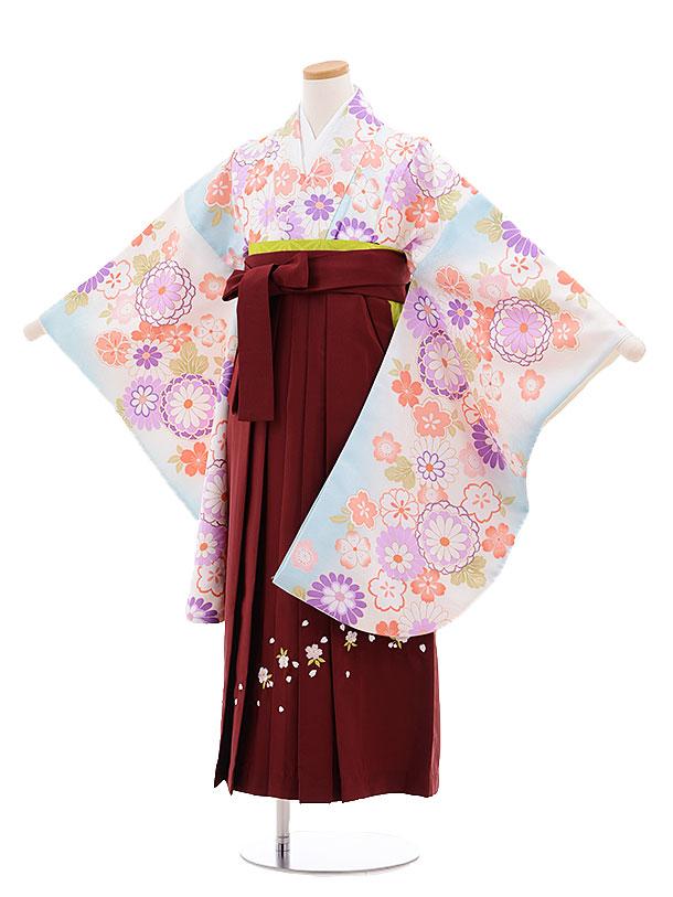 小学生卒業式袴レンタル(女の子)9678水色菊桜×エンジ袴