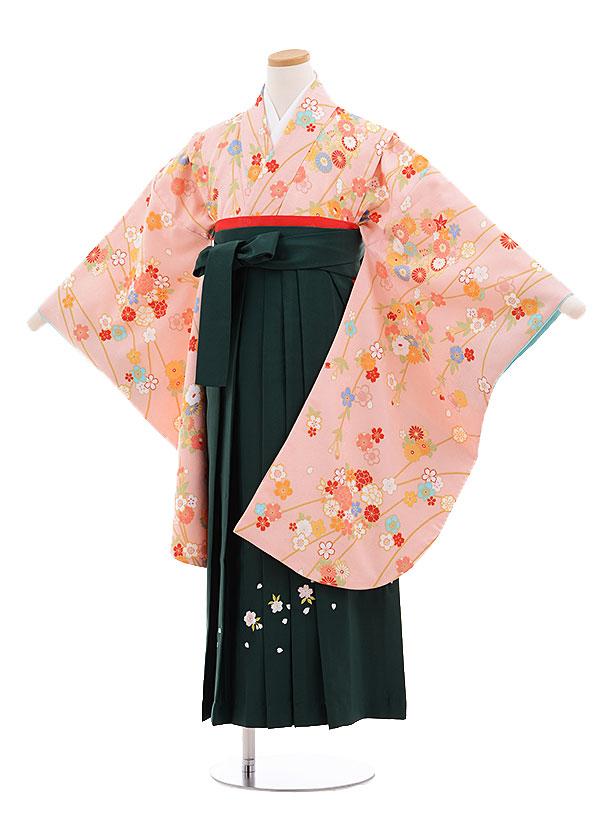 小学生卒業式袴レンタル(女の子)9680ピンク枝に花×グリーン袴