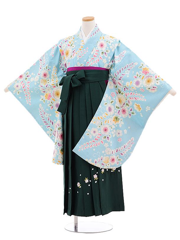 小学生卒業式袴レンタル(女の子)9681水色花藤×グリーン袴