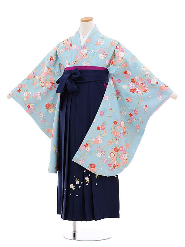 小学生卒業式袴レンタル(女の子)9682水色枝に花×紺袴