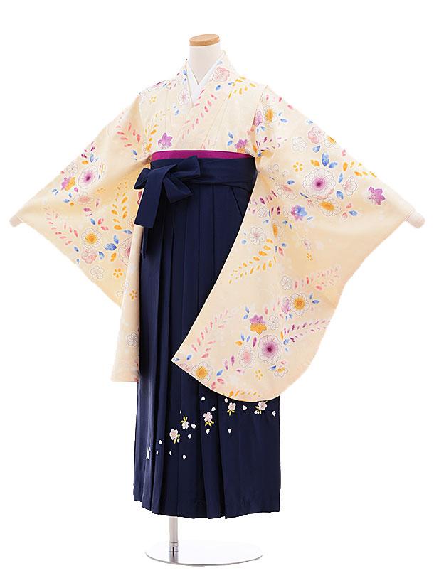 小学生卒業式袴レンタル(女の子)9683クリーム色花藤×紺袴