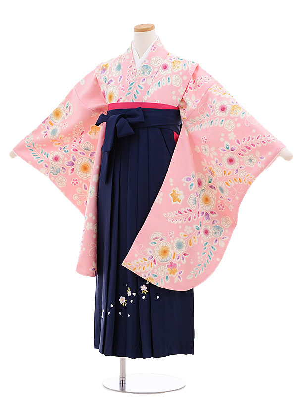 小学生卒業式袴レンタル(女の子)9684ピンク花藤×紺袴