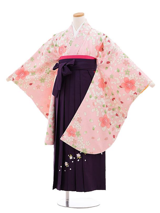 小学生卒業式袴レンタル(女の子)9686ピンク地桜×パープル袴