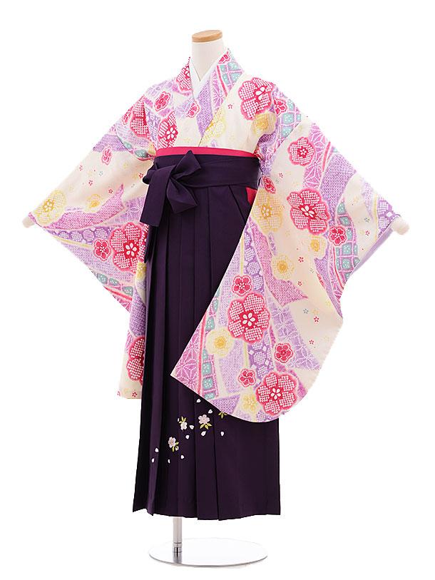 小学生卒業式袴レンタル(女の子)9687クリーム地のしめ鹿の子パープル袴