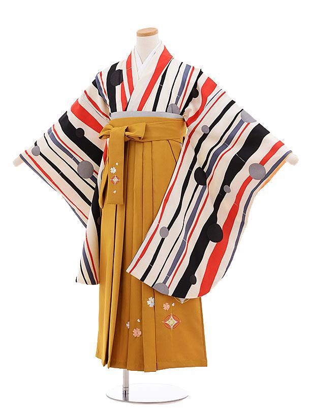 小学生卒業式袴レンタル(女の子)9690白黒ストライプ水玉×金茶袴