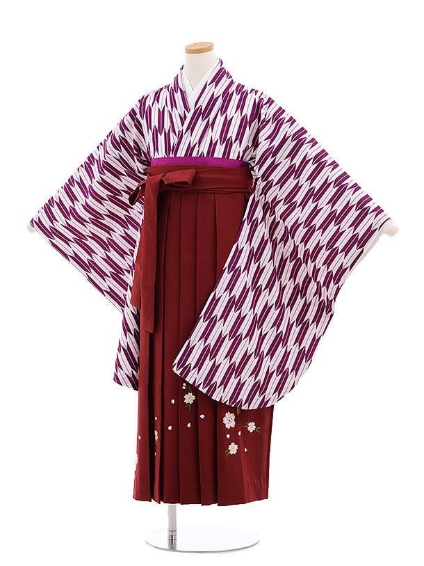 小学生卒業式袴レンタル(女の子)9691紫矢柄×エンジ袴