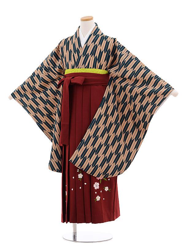 小学生卒業式袴レンタル(女の子)9693グリーン矢柄×エンジ袴
